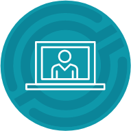 Icon showing a person on a laptop screen