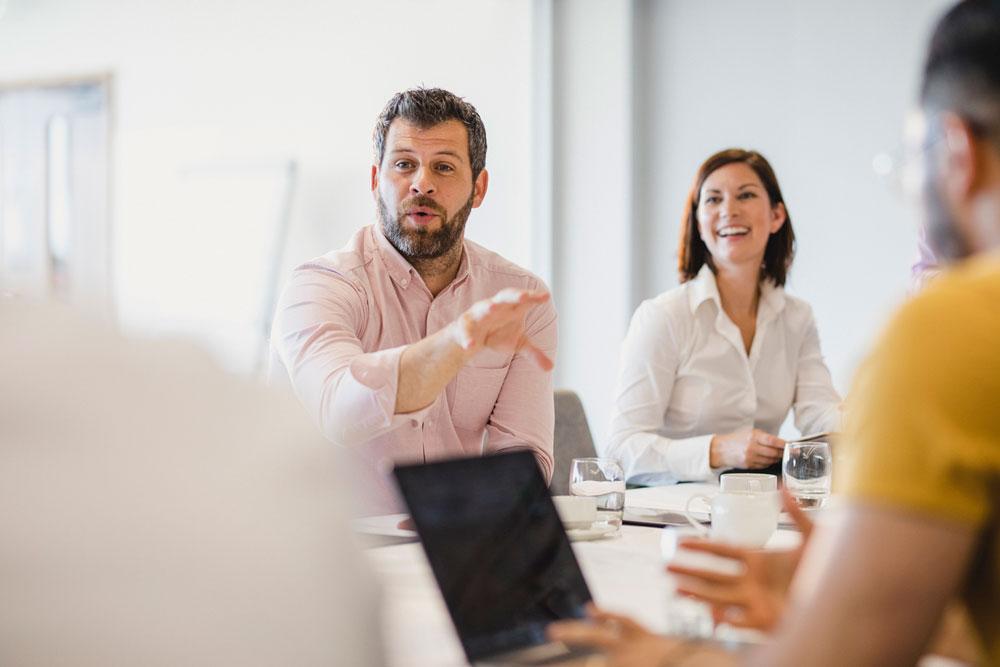 Man talking in a meeting